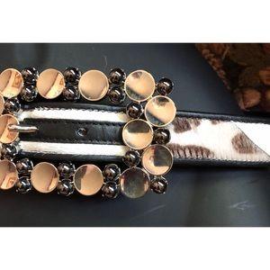 Escada Exotics Vintage Calf Hair Leather Belt 38